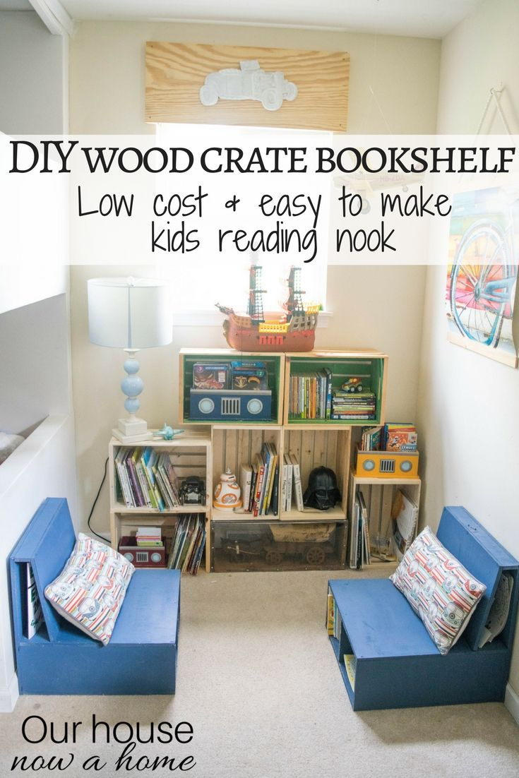 Diy wood crate bookshelf low cost and easy to make kids reading nook playroom and boy bedroom decorating ideas how to decorate and organize open book