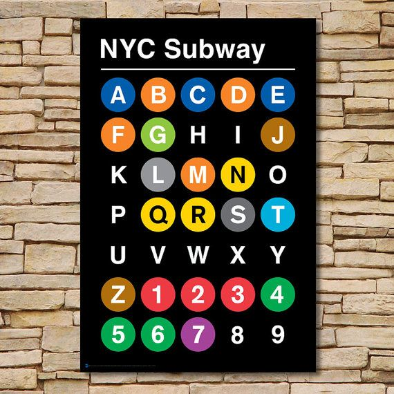 Subway Map Sign.24 X 36 13 Color Silk Screen Alpha Numeric Nyc Subway Print By
