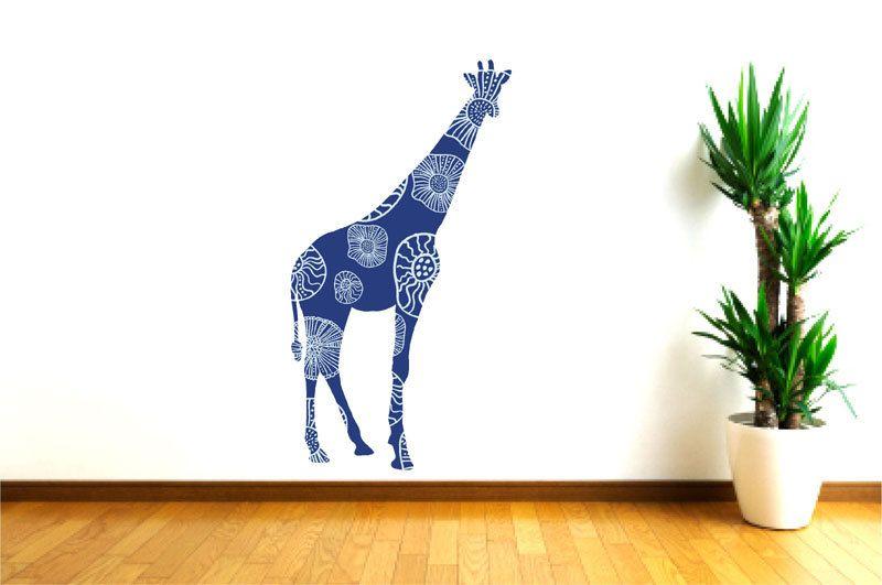 blue giraffe wall decal, kids wall decal, tall giraffe decal, safari