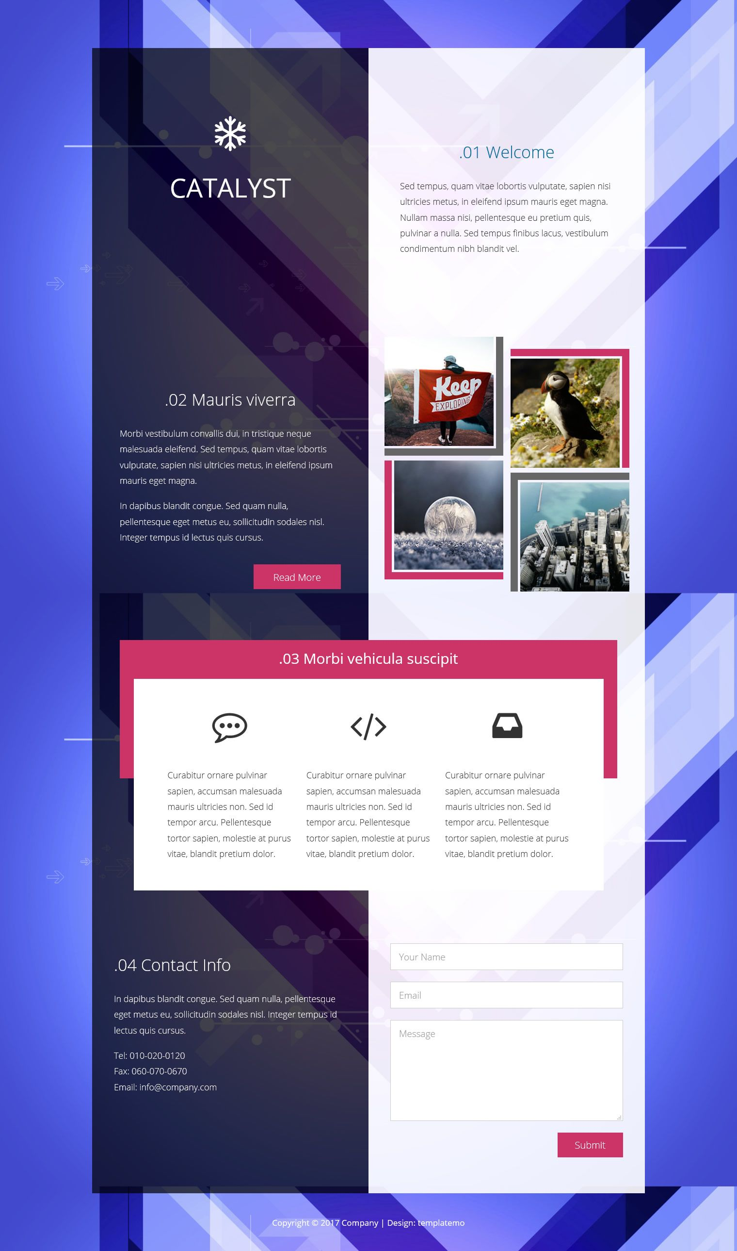 Catalyst One Page Template With A Stylish Transparent Background Templatemo Css Website Templates Css Templates Website Template