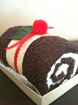 Cute jellyroll towel cake!