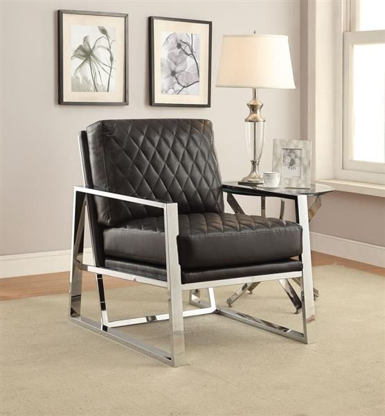 Black Chrome Faux Leather Metal Accent Chair Black Living Rooms