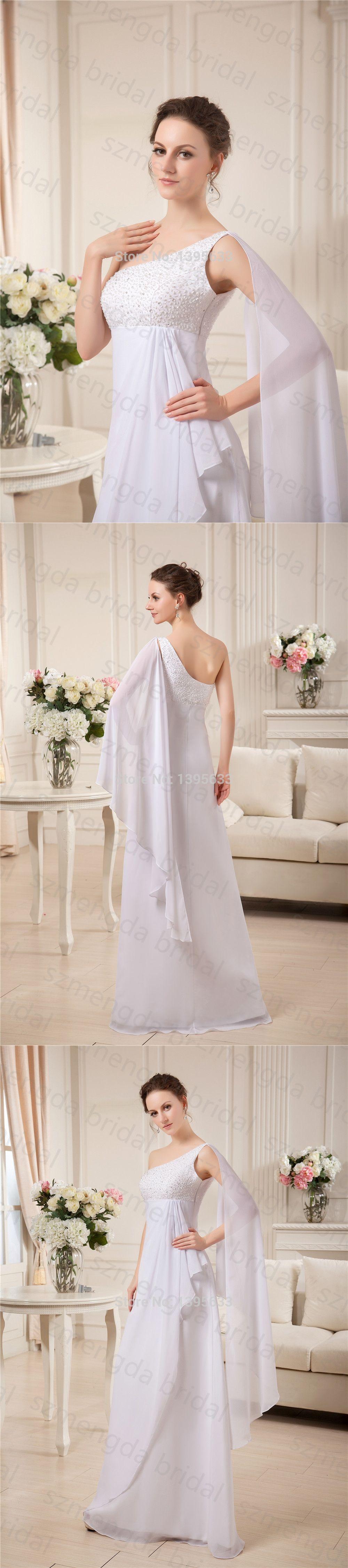 Long flowy chiffon women formal gown one shoulder white prom dress