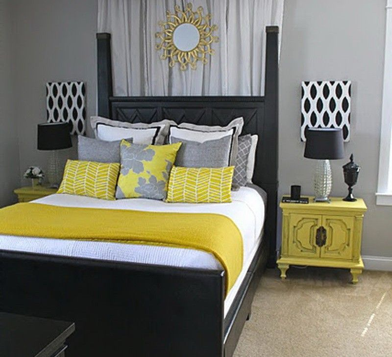 Gray And Yellow Bedroom: Like The Pattern Designs Behind The Lamps (I Have Gray