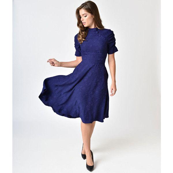Voodoo Vixen Deep Purple Jacquard Half Sleeve Maribelle Swing Dress ...