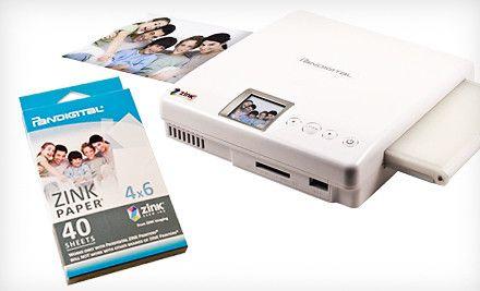 Pandigital Portable Zink Zero Ink Photo Printer With Optional