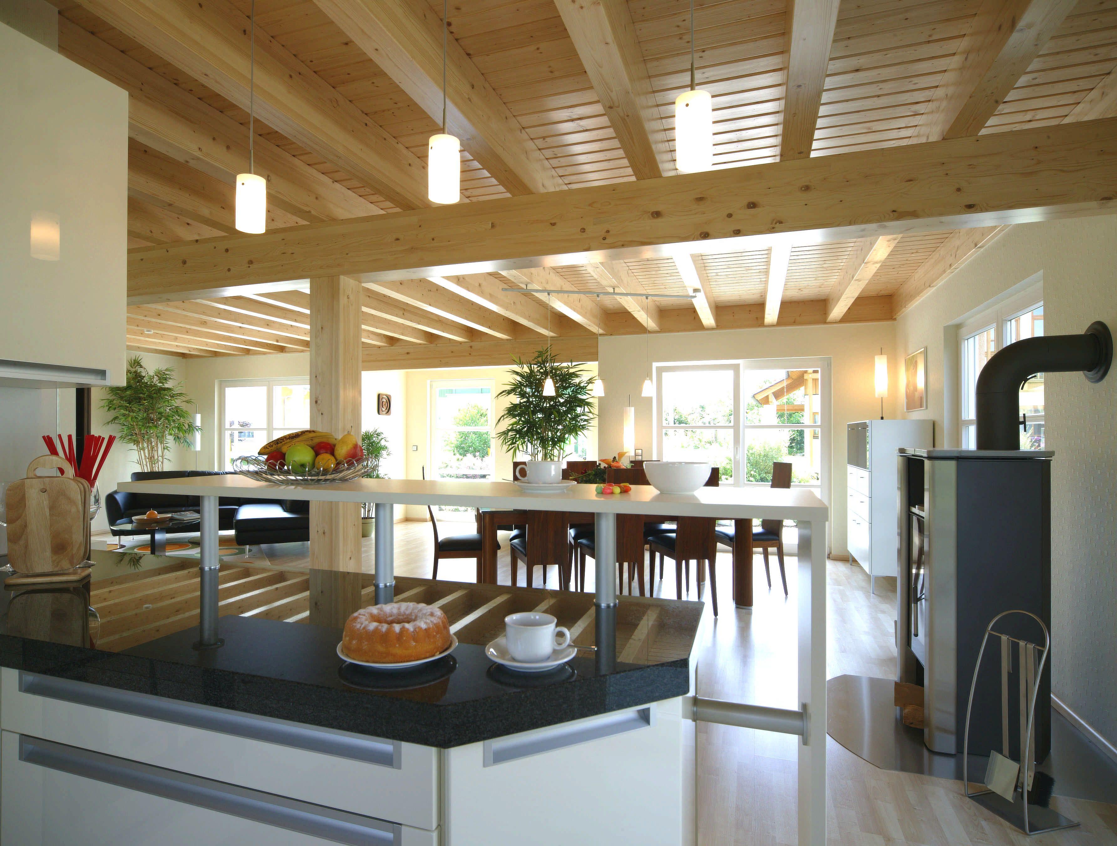 Amazing Offene K che mit Wohnraum kitchen Fertighaus WEISS Bavaria