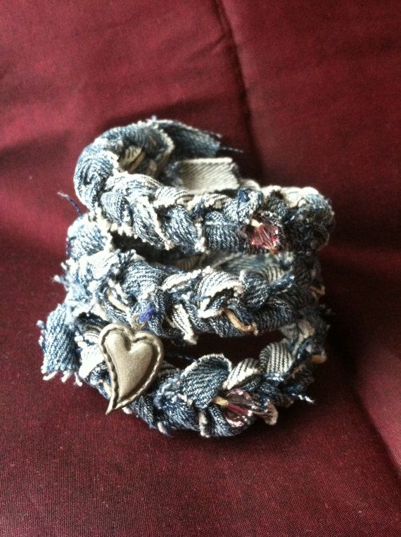 Upcycled Denim Wrap Cuff Beach Bracelet by simplycreativeliving, $15.00