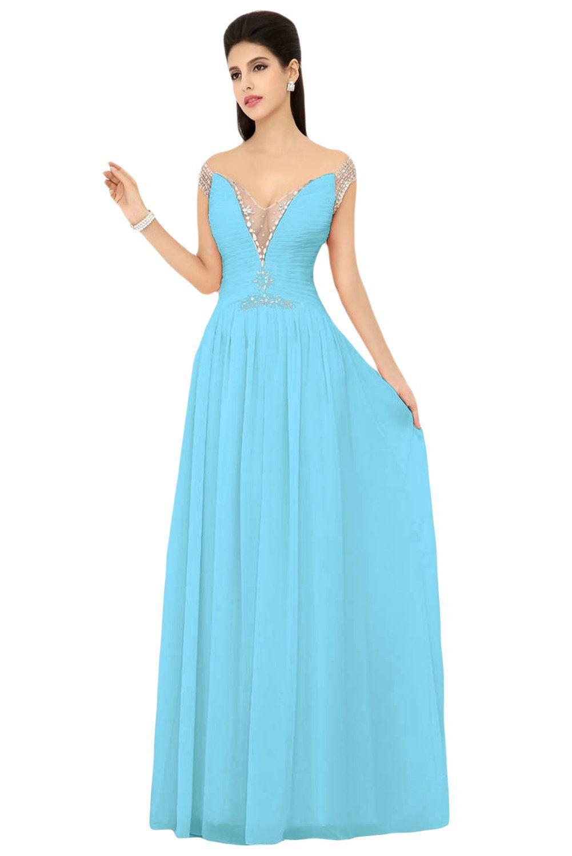 Sunvary Cap Sleeves Floor Length Chiffon Bridesmaid Prom Dresses ...