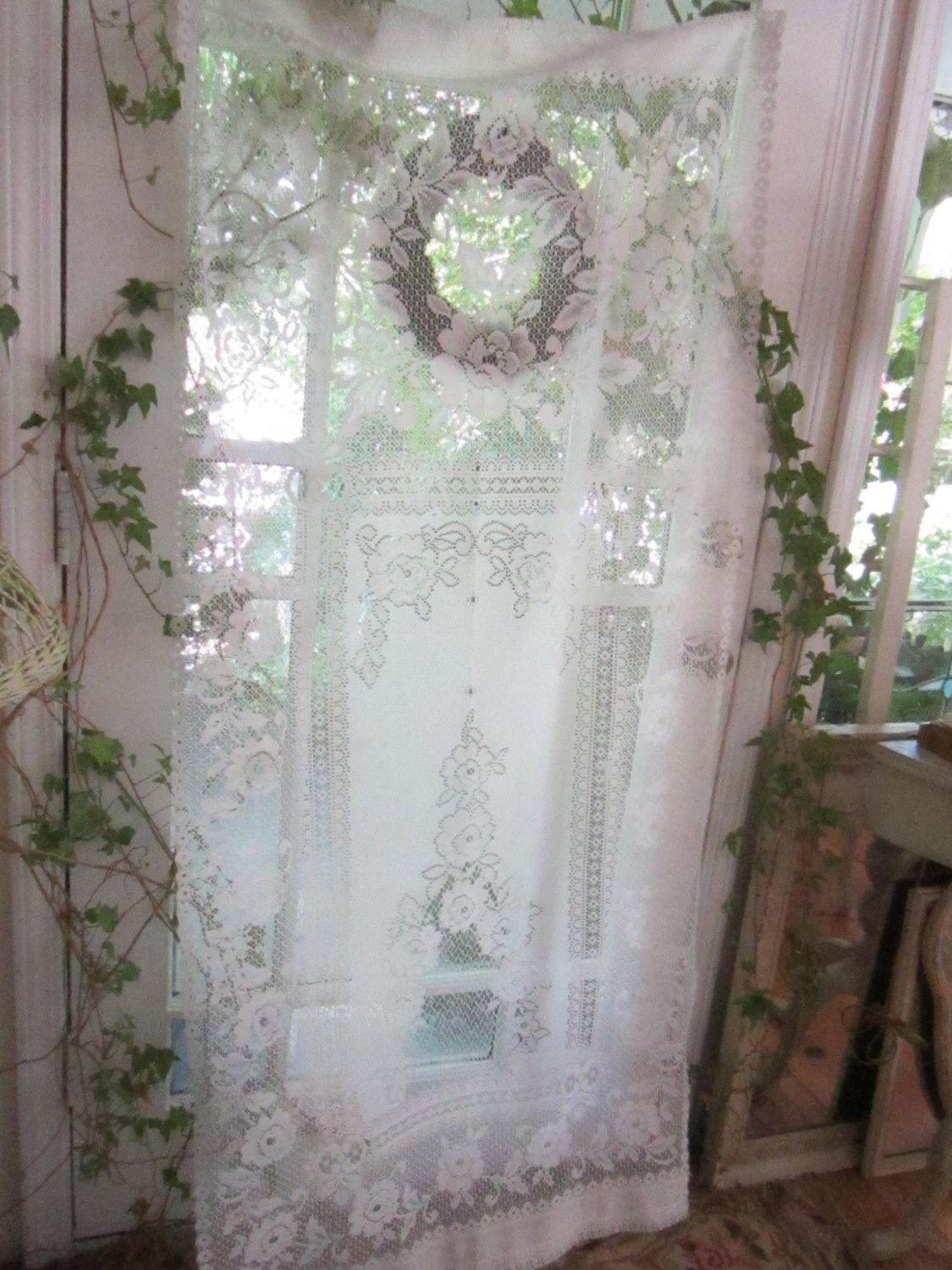 Vintage Inspired Victorian Lace Curtain By Vintagewhitecottage 3800