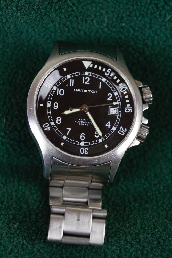 Hamilton khaki stainless steel band classic dive watch for Hamilton dive watch