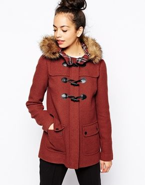 New Look Faux Fur Hooded Duffle Coat $65 | Beauty: Clothes ...