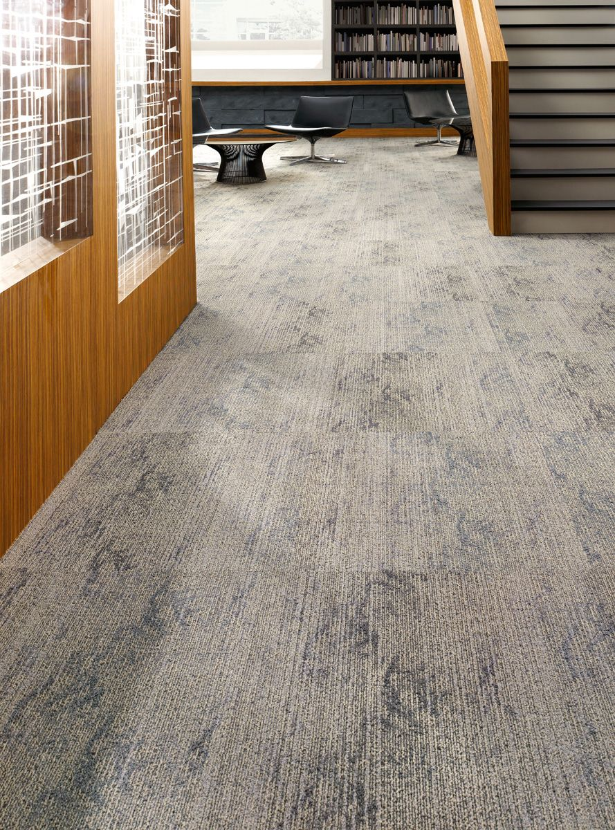 Radiating out tile lees commercial modular carpet for Modular basement flooring