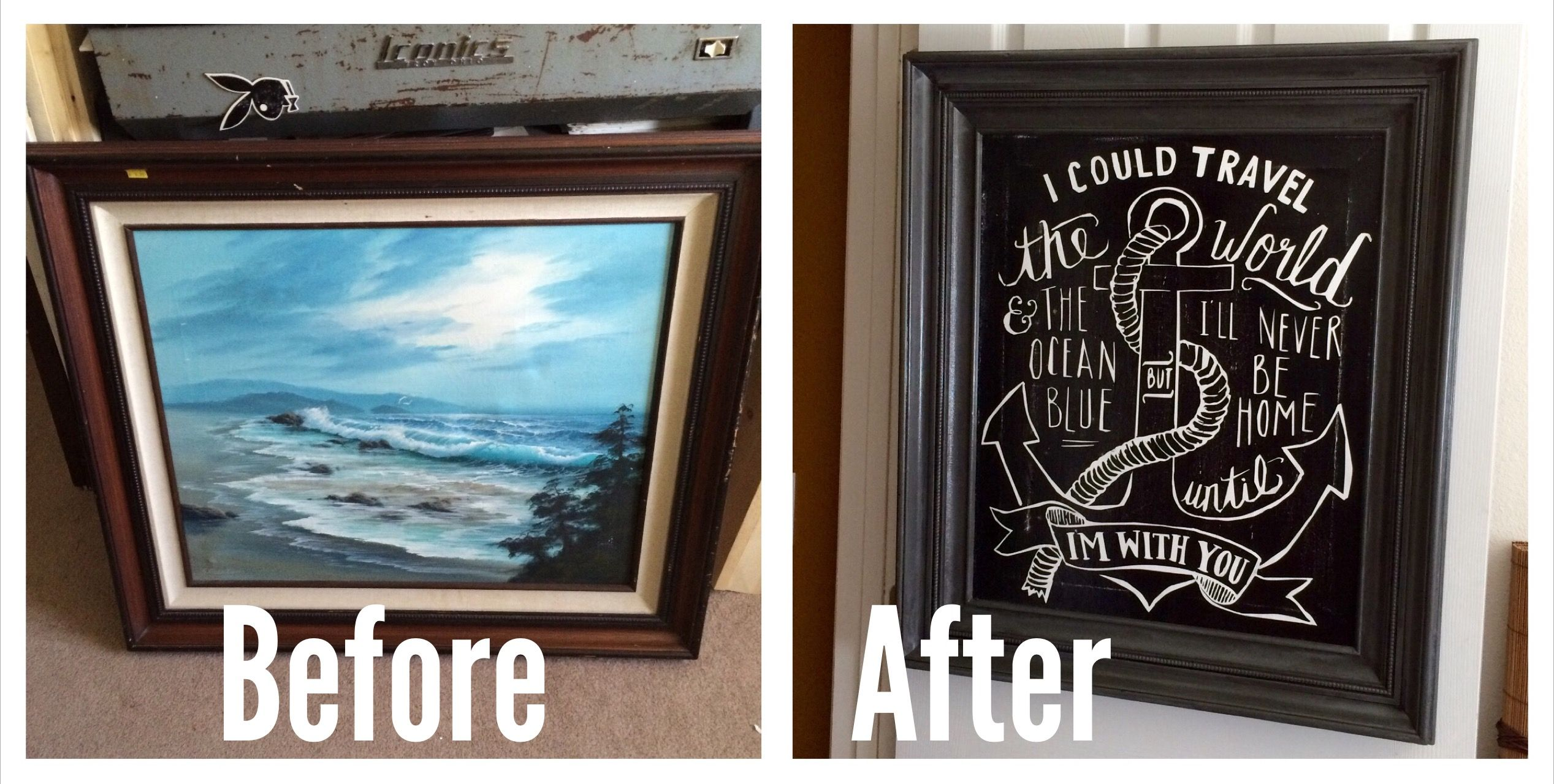 Before And After I Repurposed An Old Oil Painting For My Borther Blue House Painting Oil Painting