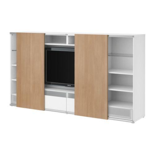 BESTÅ/INREDA TV storage combo with sliding doors - white/beech ...