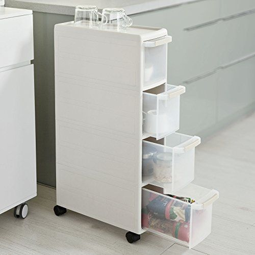 Sobuy 4 Drawers Plastic Storage Unit On Wheels Trolley L42 X W18 X H85cm 35 95 Ikea Storage Drawers Plastic Storage Drawers Ikea Storage