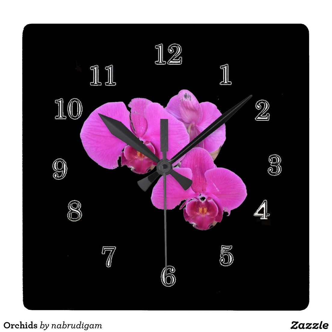Orchids Square Wallclock