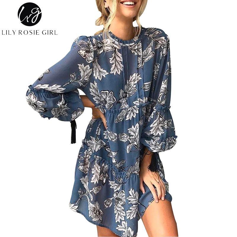 227f45a1360a6 Lily Rosie Girl Women 2017 Blue Ruffles O-neck Wrist Floral Print ...
