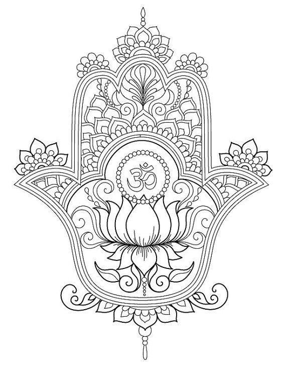 Hamsa Coloring Pages | things i like | Pinterest | Tattoo ideen ...