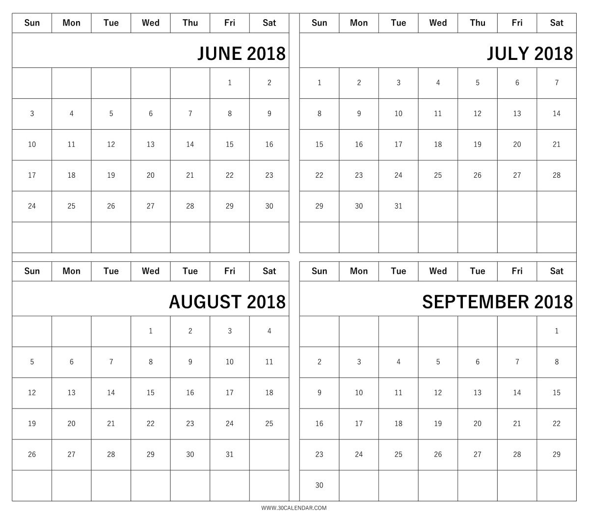 Print Free June To September 2018 Calendar With Holidays
