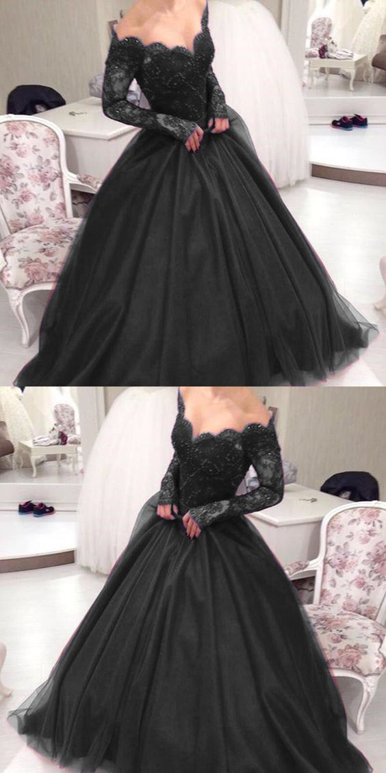 New Arrival Black Lace Ball Gown Quinceanera Dresses With Long Sleeve Plus Size Women Party Gowns ,Long Prom Gowns