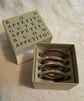 Vilmain + Klinger Pewter napkin rings NIB Set/ 4 Guten Bon Appetit Buon Appetito $14.99