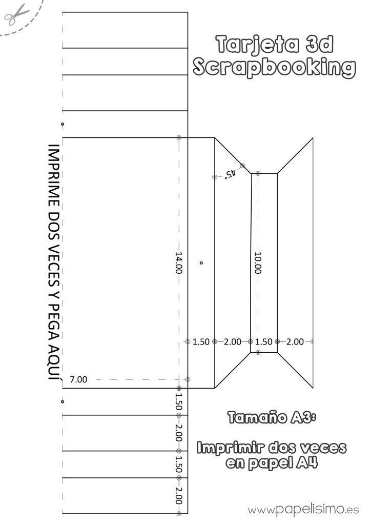 Plantilla-marco-3D-de-papel-tamano-A3-Scrapbooking | Scrapbooking ...