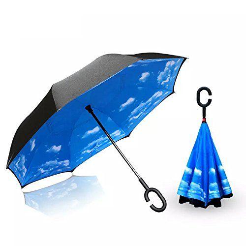 BP@ Ombrello Pieghevole con meccanismo di apertura riverso invertito utilissimo in caso di pioggia rovesciato, le mani a forma di C Reverse Parasol libera della maniglia doppio strato antivento auto all'aperto (106 cm) (wind)