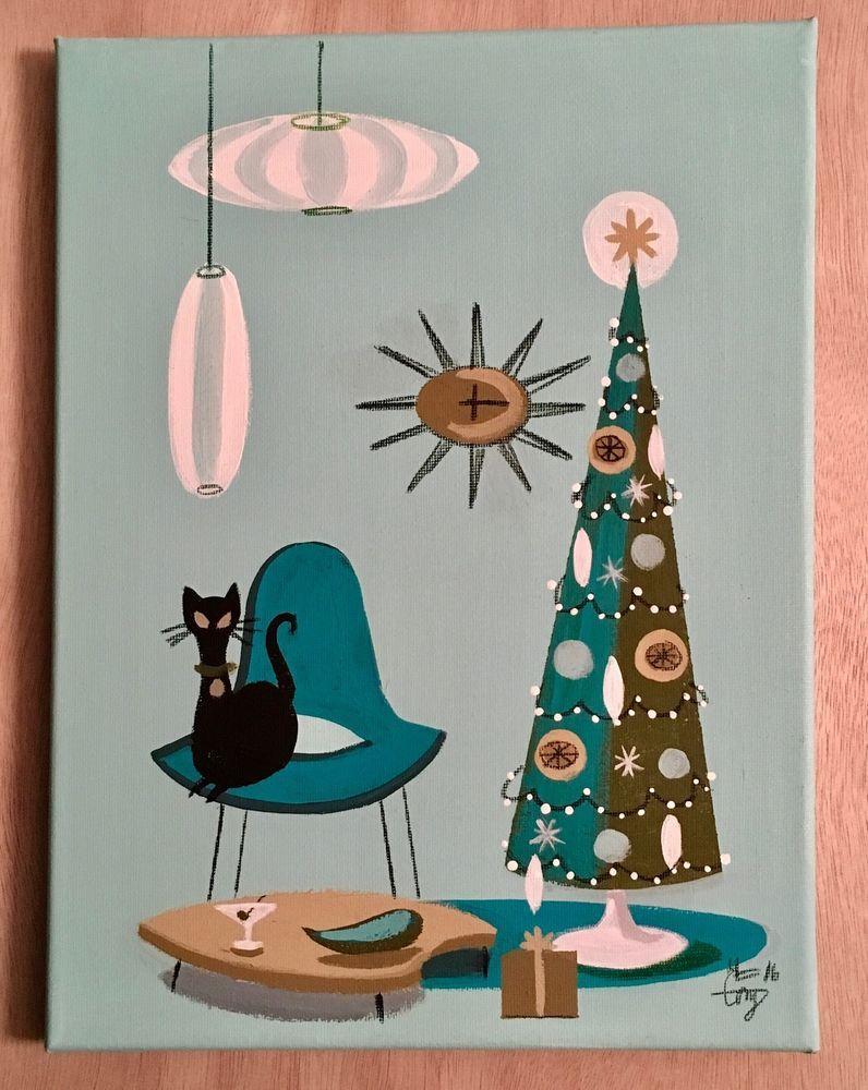EL GATO GOMEZ RETRO VINTAGE CHRISTMAS HOLIDAY MID CENTURY MODERN EAMES CAT 50/'S