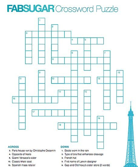 Cozy Up To Our Fabsugar Fashion Crossword Crossword Crossword Puzzle Fashion