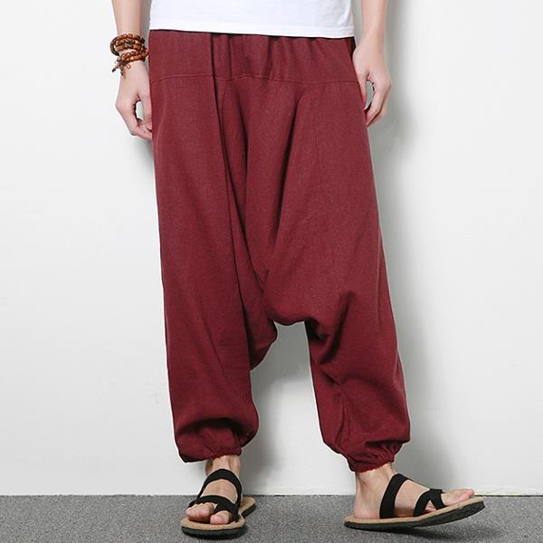 f9010ac4c4d Men s Cotton Linen Harem Pants Casual Baggy Loose Trousers - Banggood Mobile