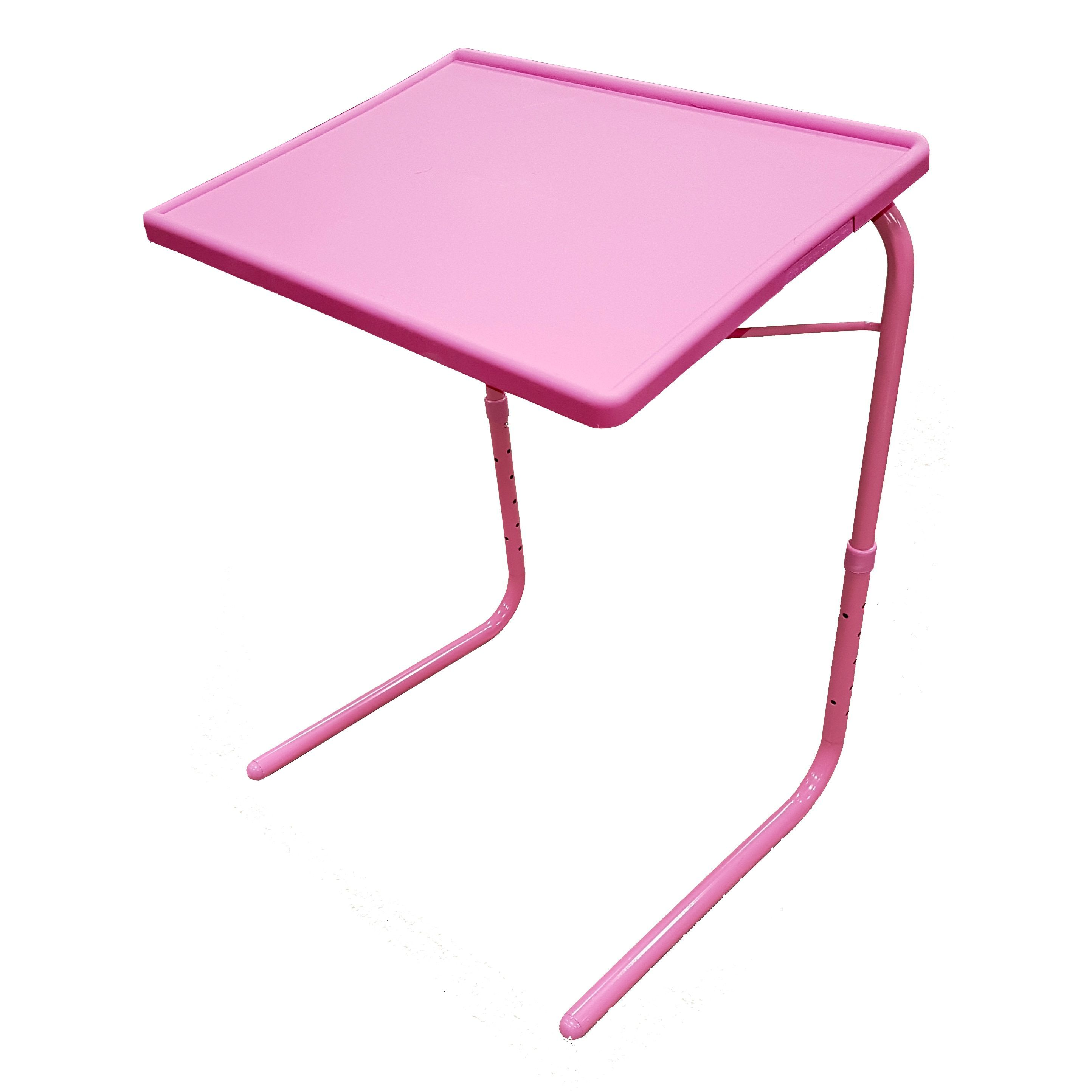 Portable Foldable Wood Metal Adjustable TV Tray Table (
