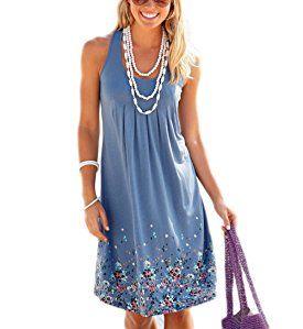 641de5de90e AELSON Womens Summer Casual Sleeveless Mini Printed Vest Dresses at Amazon  Women s Clothing store