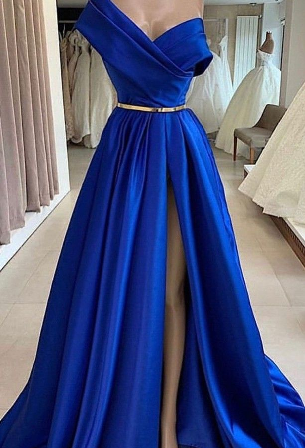 Fashion Abendkleider Lang Royal Blue  Schlichte Abendmoden