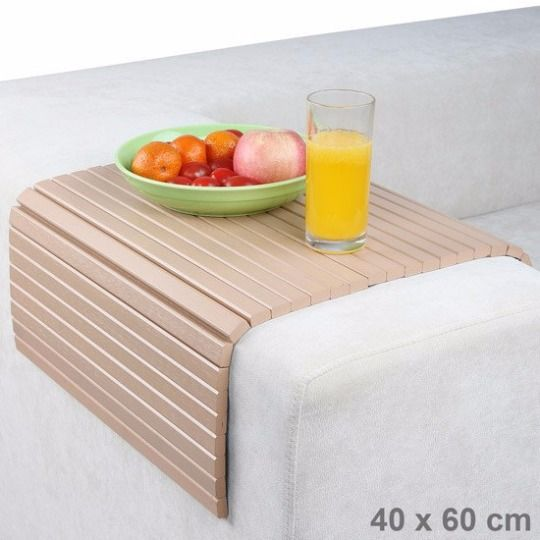 Sofa Arm Rest Tray Couch Flexible Snack Table Mat Trivet Wood 50x30 Cm Bamboo Sofa Wood Trivets Snack Table