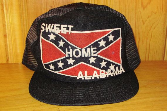 2b3f6dc5 SWEET HOME ALABAMA Original Vintage 80s Black & Red Flag MeshTrucker Hat at  HatsForward