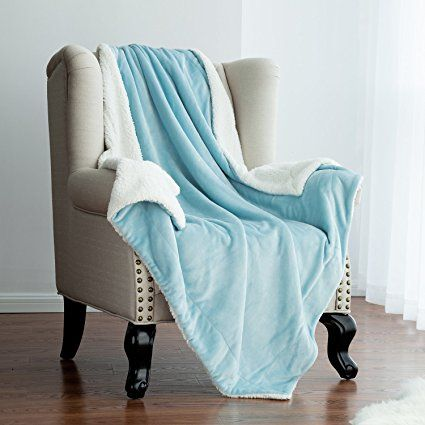 Throw Blankets For Couches Alluring Sherpa Throw Blanket Aqua Blue 60X80 Reversible Fuzzy Microfiber All Review