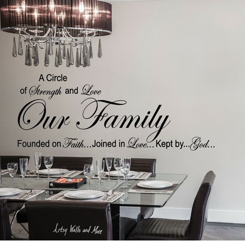 Our Family A Circle Of Strength And Love Wall Quote Vinyl Decal - Vinyl decals for kitchen walls