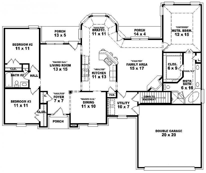 single story 3 br 2 bath duplex floor plans - Single Story House Plans