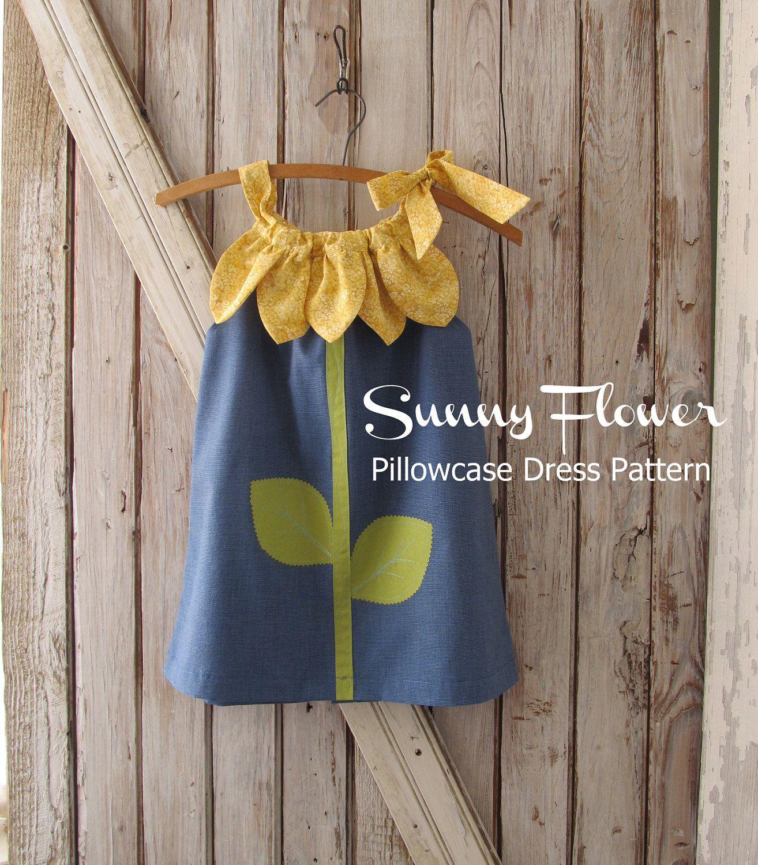 Sunny Flower Pillowcase Dress - Girl Sewing Pattern - PDF Pattern Tutorial Easy Sew Sizes 12m thru 10 included & Sunny Flower Pillowcase Dress - Girl Sewing Pattern - PDF Pattern ... pillowsntoast.com