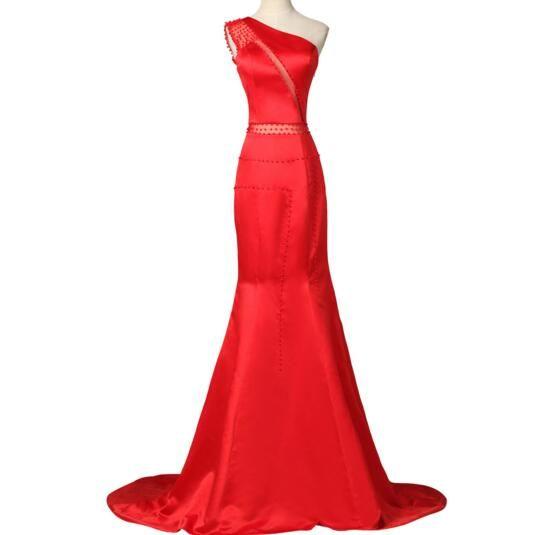 Red Mermaid Prom Dress 2017 Floor Length Satin