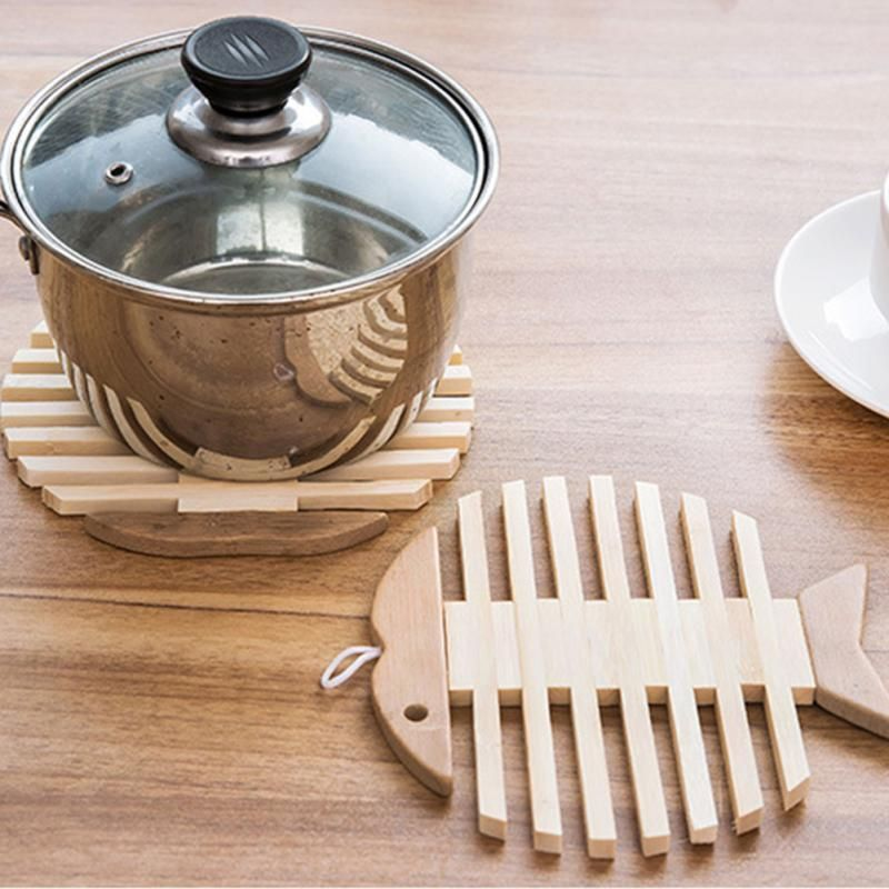 Best Wooden Bamboo Table Mat Heat Pad Apple Fish Shaped