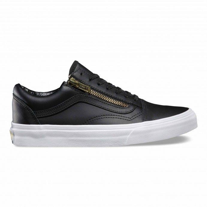 Vans Old skool zip leather black gold   VANS ZAPAS