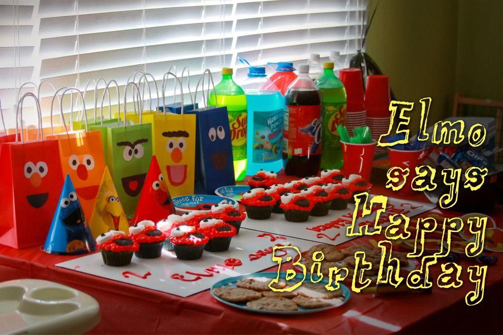 Sesame Street Candy Bags Fruit Birthday Cake Elmo Happy Parties