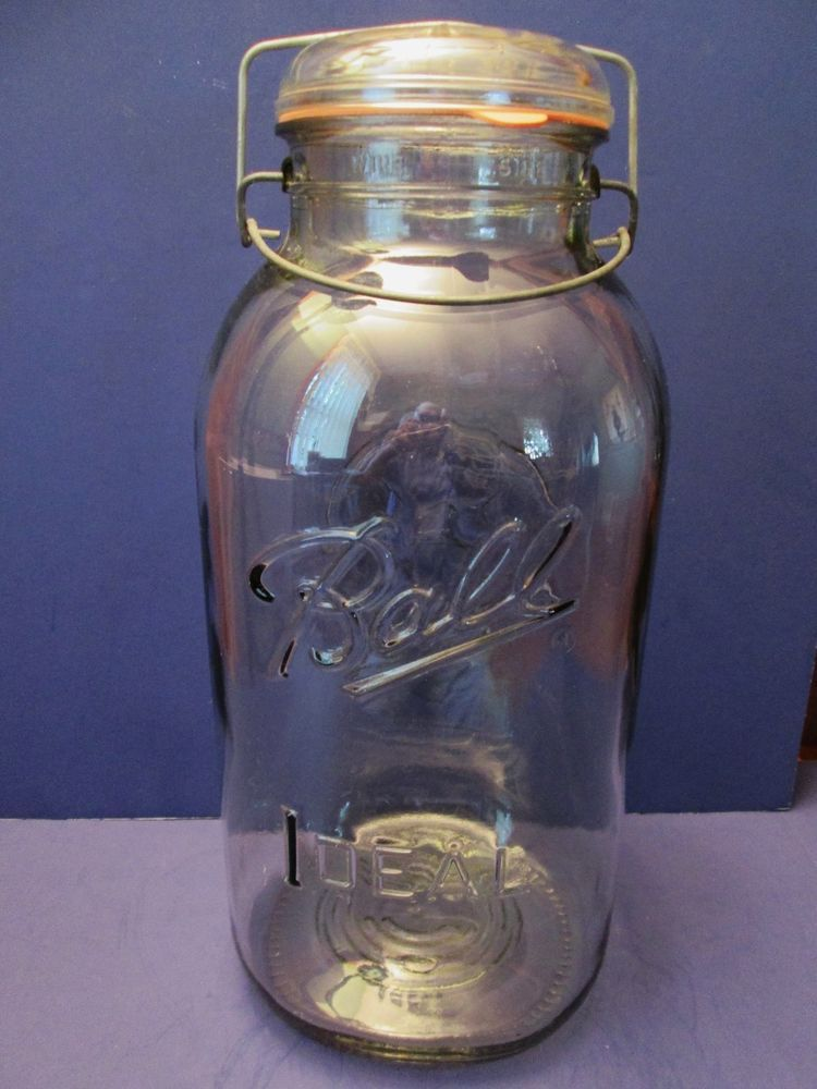 2 Gallon Vintage Ball Ideal Bail Top Canning Jar, Glass Lid, Rubber Seal