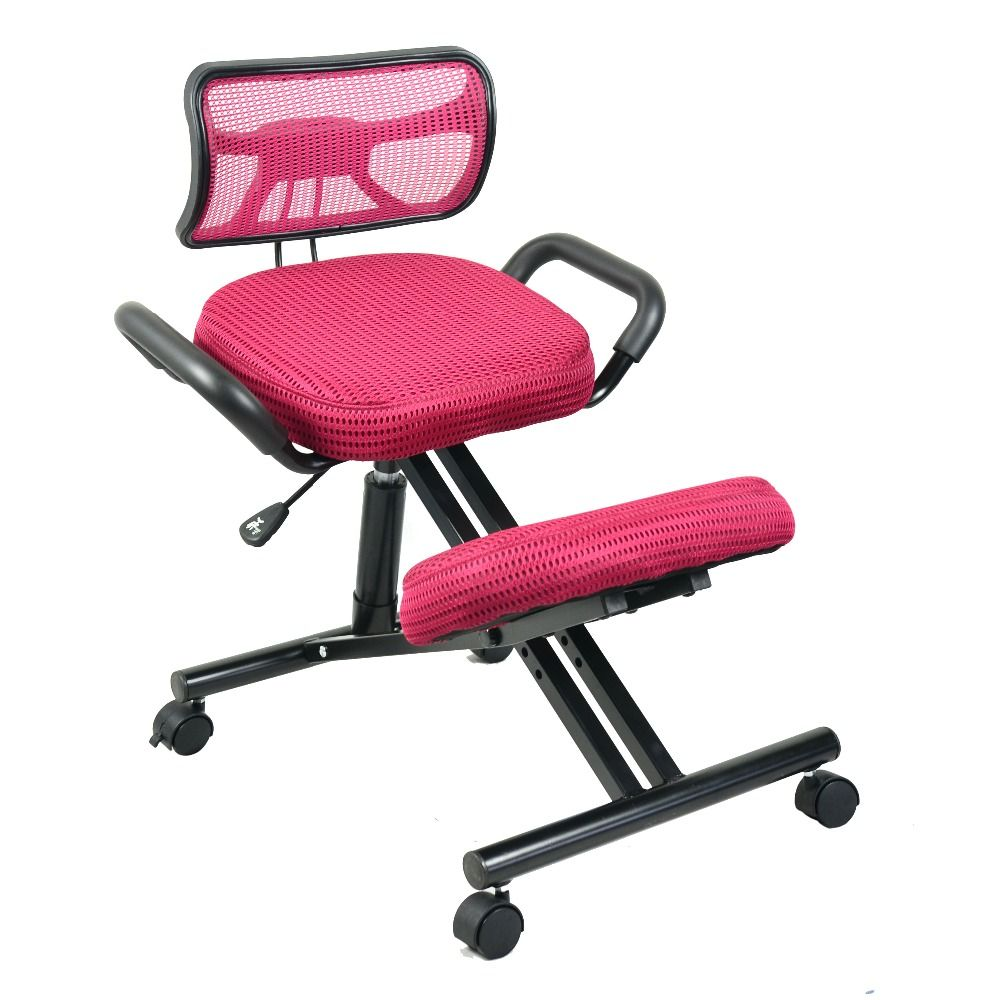 ergonomically designed knee chair with back and handle mesh fabric