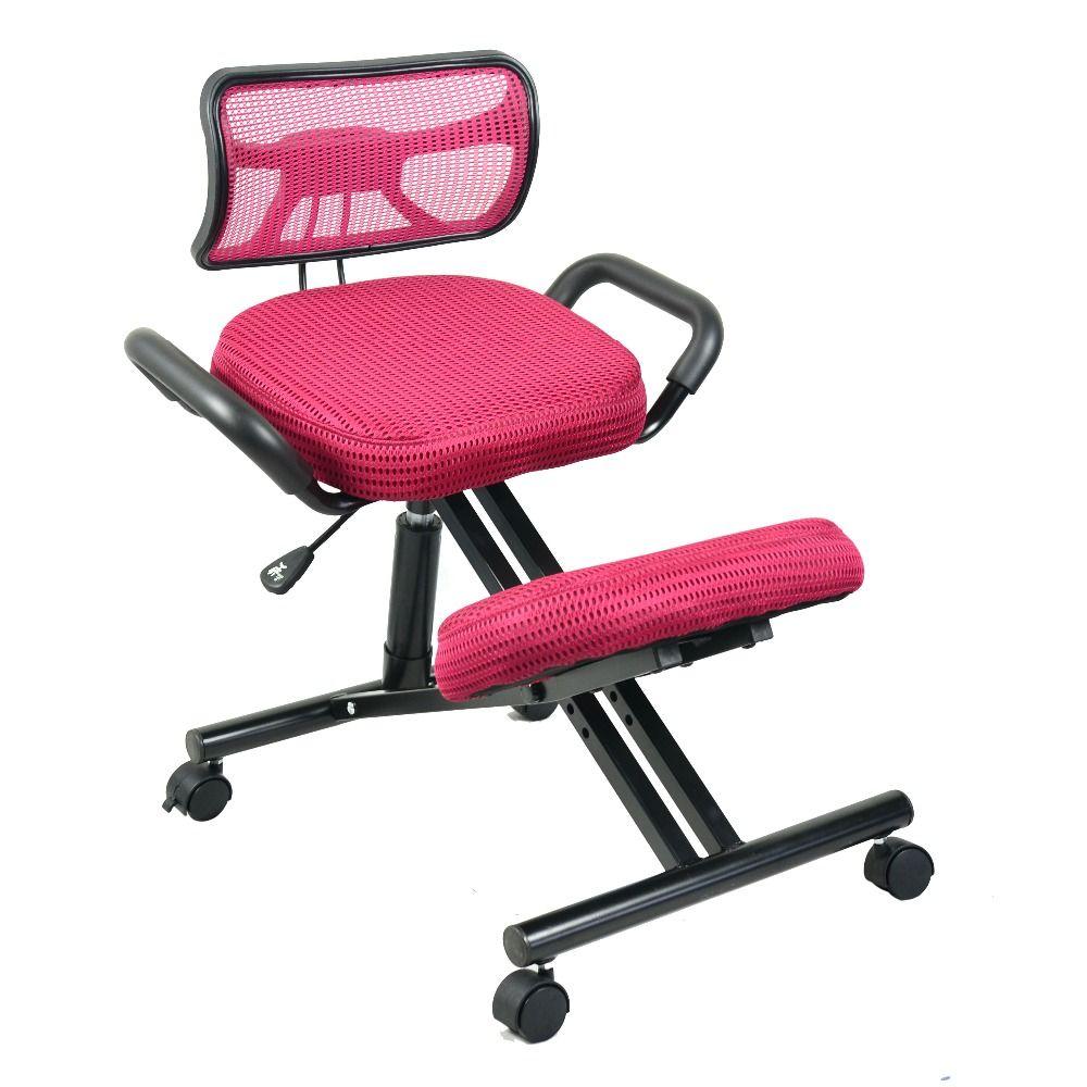 Du Genou Ergonomique Chaise Avec Le Dos Et Poignee Maille Tissu Roulette Bureau D Agenouillement Chaise Er Kneeling Chair Office Chair Ergonomic Kneeling Chair