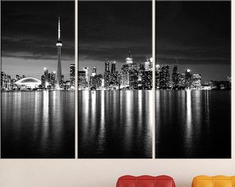 Large Canvas Art Toronto Black And White Photography Wall Decor Skyline Poster