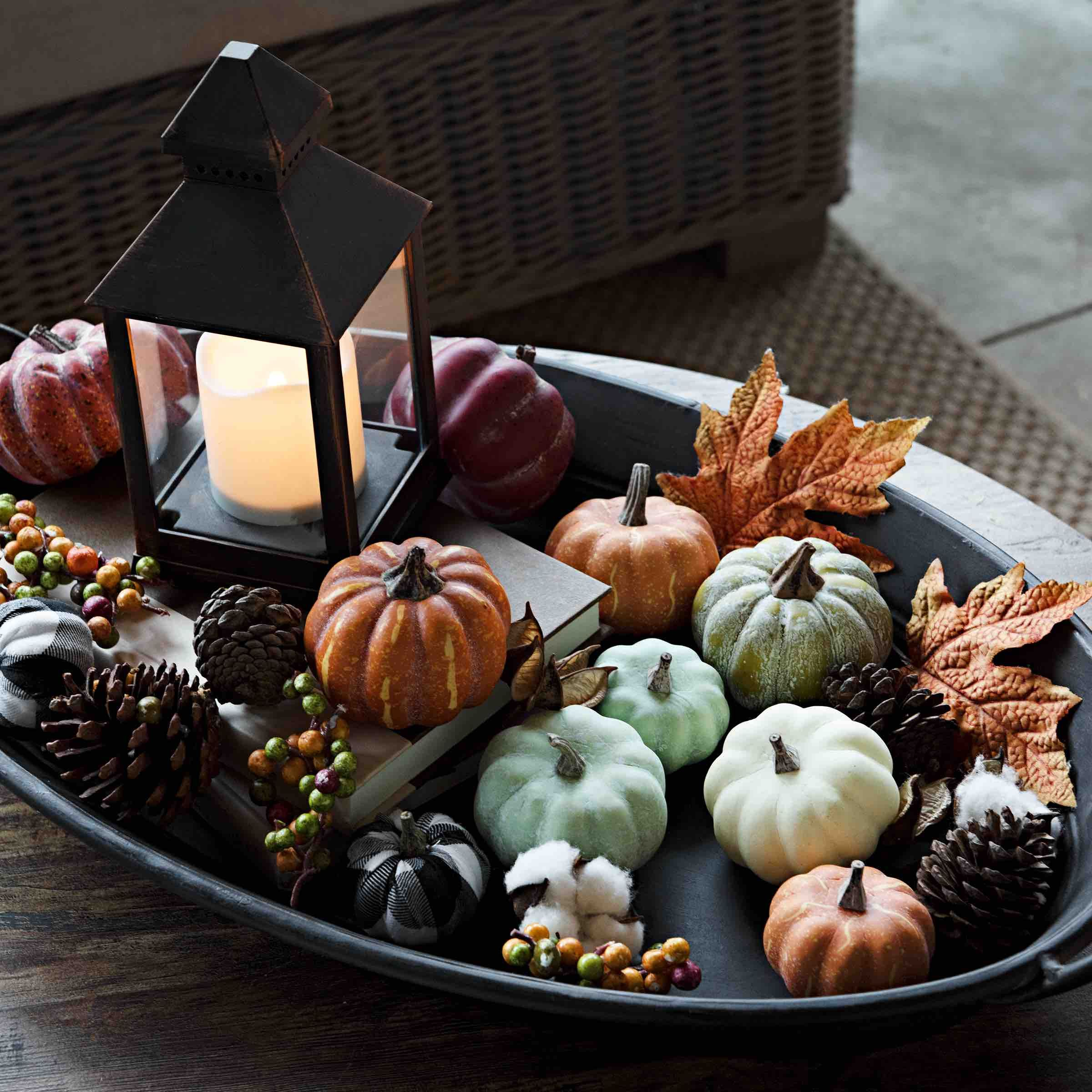 You can create your own centerpiece for the coffee table ...