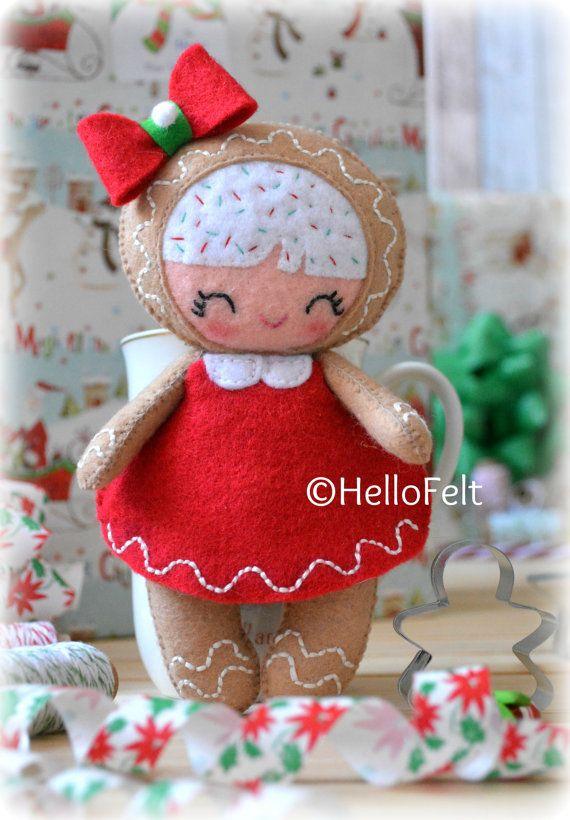 PDF PATTERN: Xmas Little Gingerbread Girl. Felt Doll Gingerbread ...